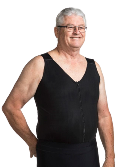 Wear Ease Men's V-Neck Torso Compression Vest - Designed To Treat Mild Edema And Lymphedema