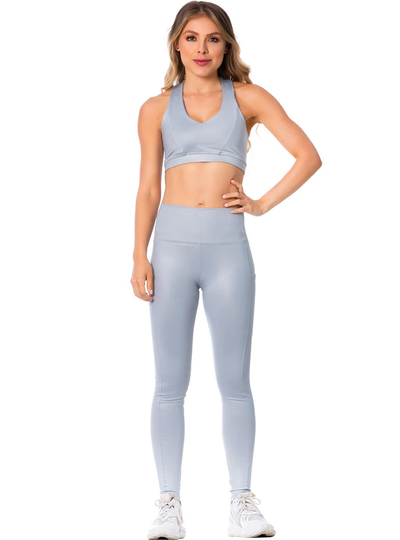 Flexmee High-Rise Shimmer Silver Sports Leggings for Women