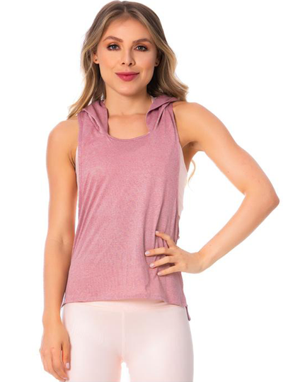 Flexmee Women's Pink Sleeveless Hooded Tank Top Light Microfiber