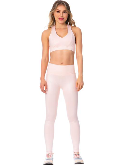 Flexmee High-Rise Shimmer Pink Sports Leggings for Women
