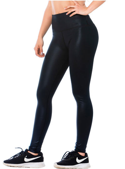 Flexmee High-Rise Shimmer Black Sports Leggings for Women
