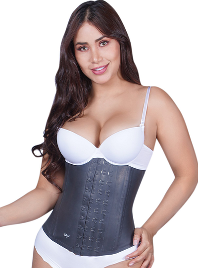 Siluet Classic Latex Waist Cincher Lined in Black Cotton