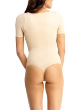 MeMoi Impresa Short Sleeve Thong Bodysuit Shaper