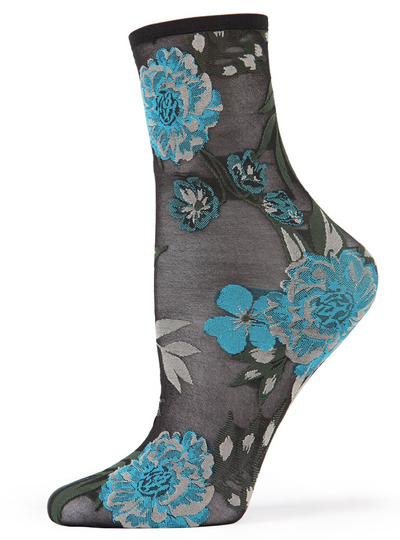 MeMoi Botanic Bunches Sheer See-through Anklet Socks