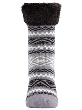 MeMoi Aztec Fairisle Plush Cabin Socks