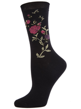 MeMoi Thorns and All Metallic Floral Crew Socks