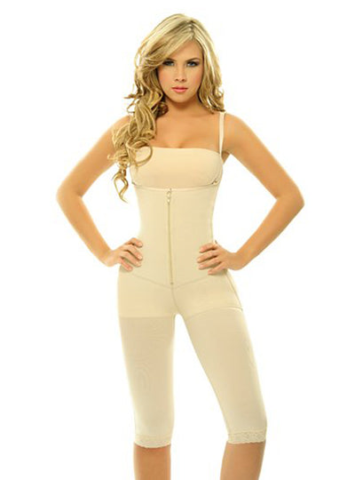 Siluet Extra-Strength Compression Braless Capri Style Minimizer Bodysuit with Latex