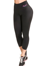 Fiorella Butt Lifter Leggings Capris with Internal High Rise Body Shaper Black