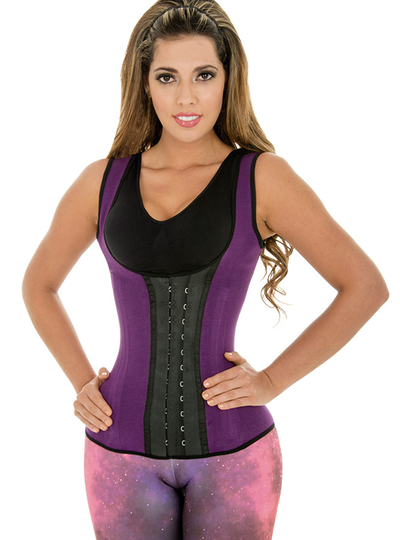 Fiorella Sports Cincher Latex Vest Waist Trainer Corset Purple