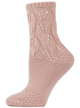 MeMoi Pointelle Sweater Knit Crew Socks