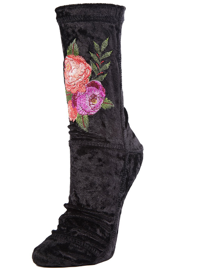 MeMoi Roses Crushed Velvet Socks
