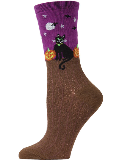 MeMoi Starry Night Cat Crew Socks