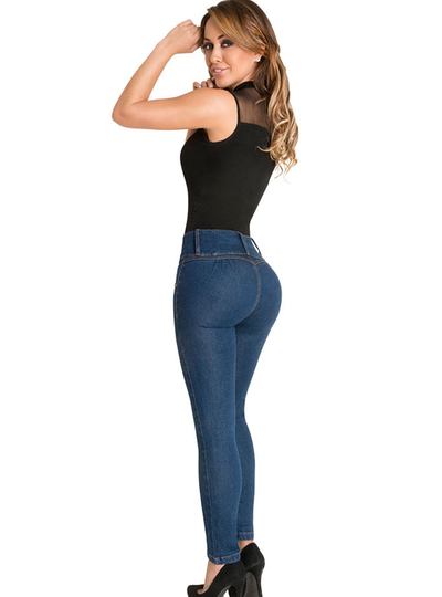 Fiorella Butt Lifter Skinny Jeans High Rise Waist Levanta Cola Blue