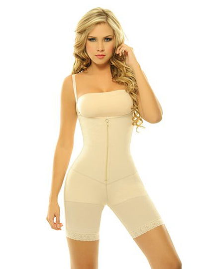 Siluet Extra-Strength Compression Braless Mid-Thigh Minimizer Bodysuit with Latex