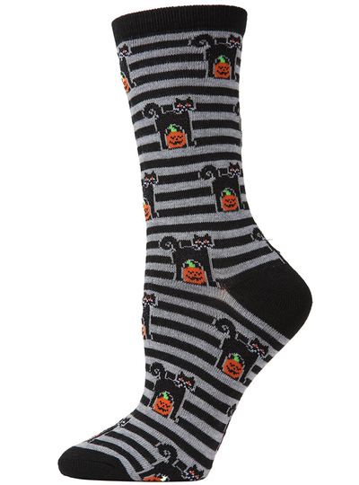 MeMoi Kitty Stripe Crew Socks