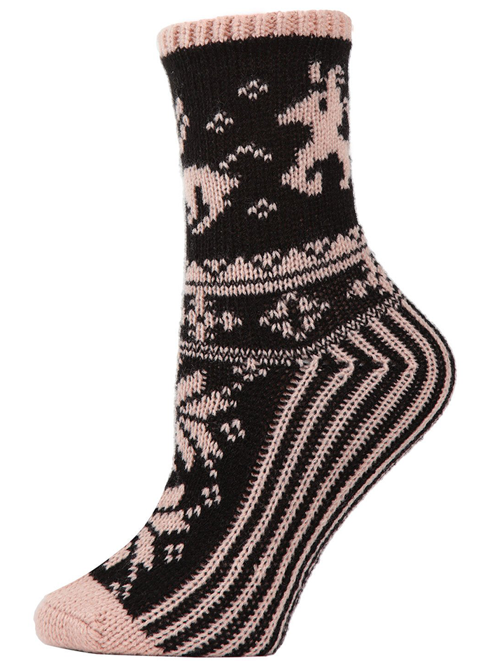 MeMoi Reindeer Sweater Knit Crew Socks