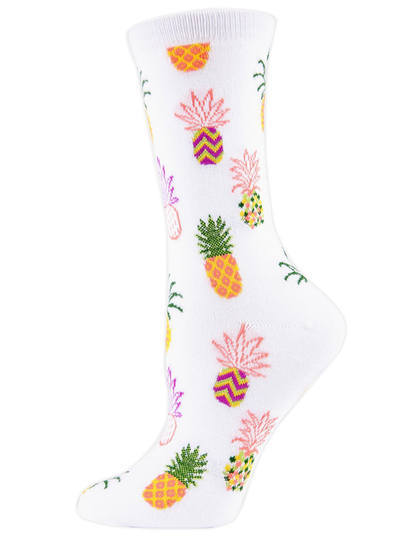 MeMoi Pineapple Bamboo Crew Novelty Socks