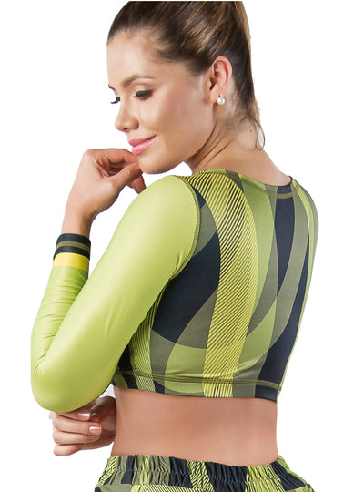Vedette Green	Crop Long Sleeves Sports Top
