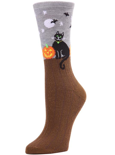 MeMoi Starry Night Cat Crew Calcetines