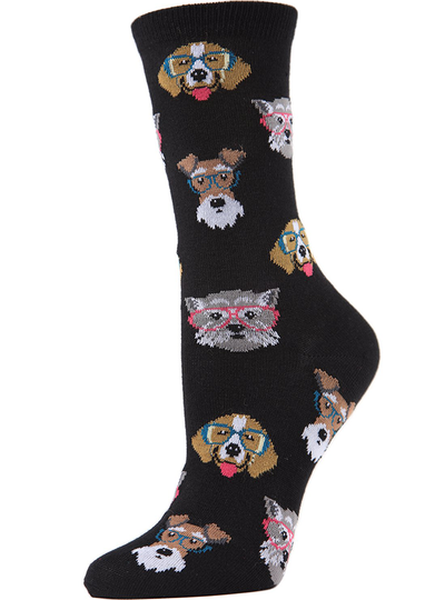 MeMoi Professor Dogs Bamboo Blend Crew Socks