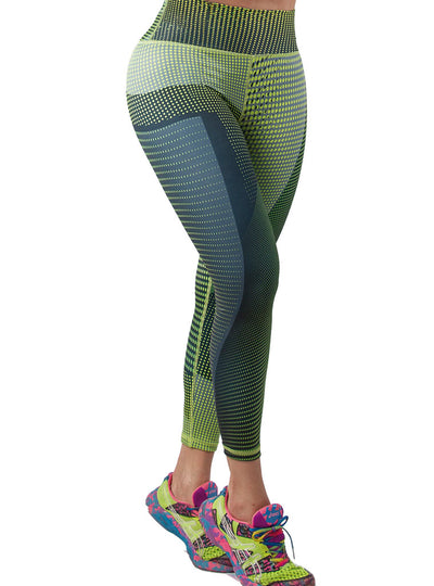 Vedette Green	& Yellow Print Leggings with Butt Lifter