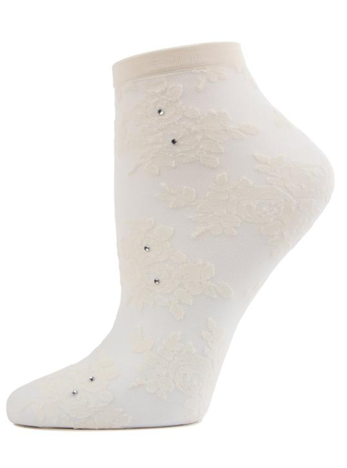 MeMoi Floral Rhinestone Shortie Sheer See-through Socks