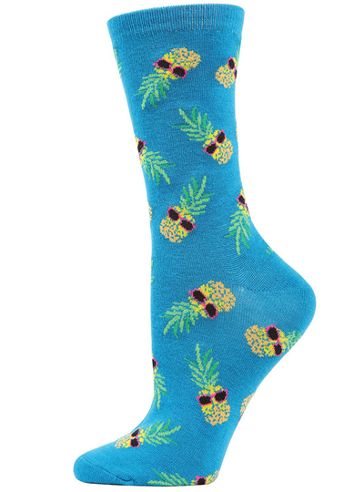 MeMoi Pineapple Sunglasses Bamboo Blend Crew Socks