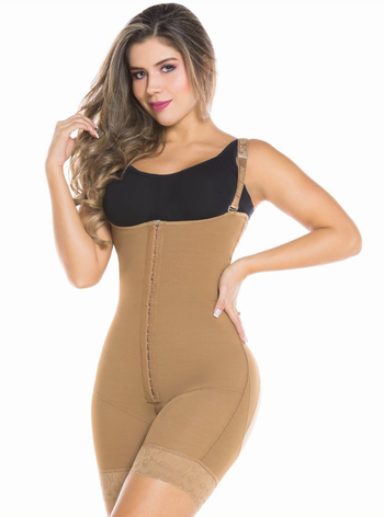 Equilibrium Post OP Compression Garment Open Bust Mid Thigh Bodysuit