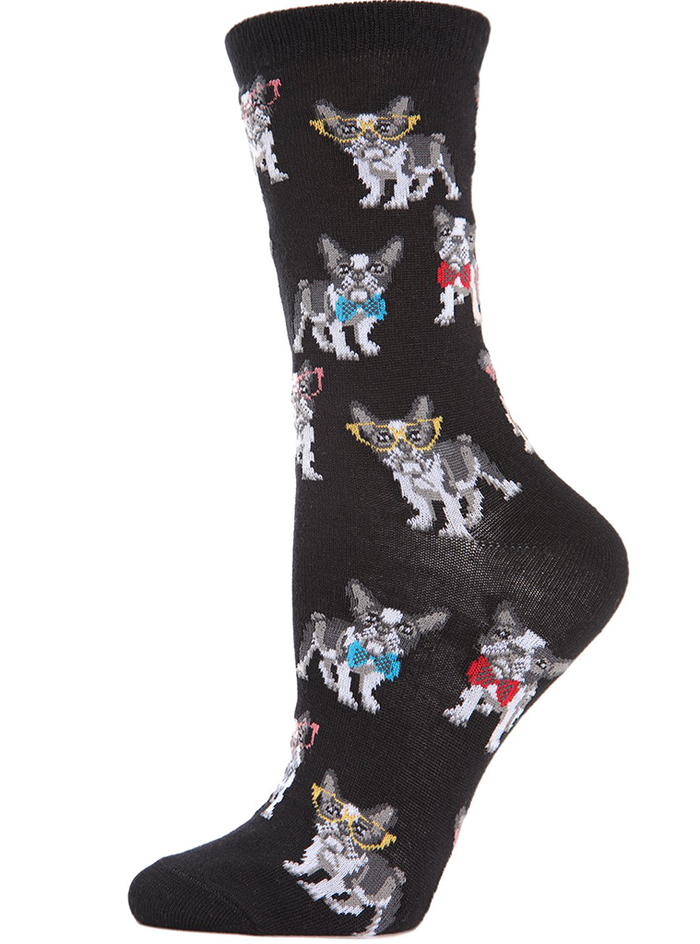 MeMoi French Bulldogs Bowtie Bamboo Crew Socks
