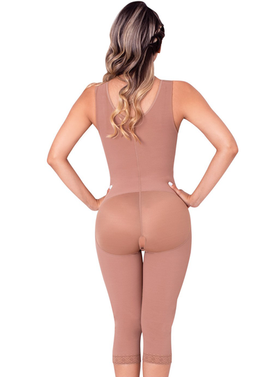 Fajas Sonryse Colombian Shapewear Knee Lenght With Built-in bra & High Back