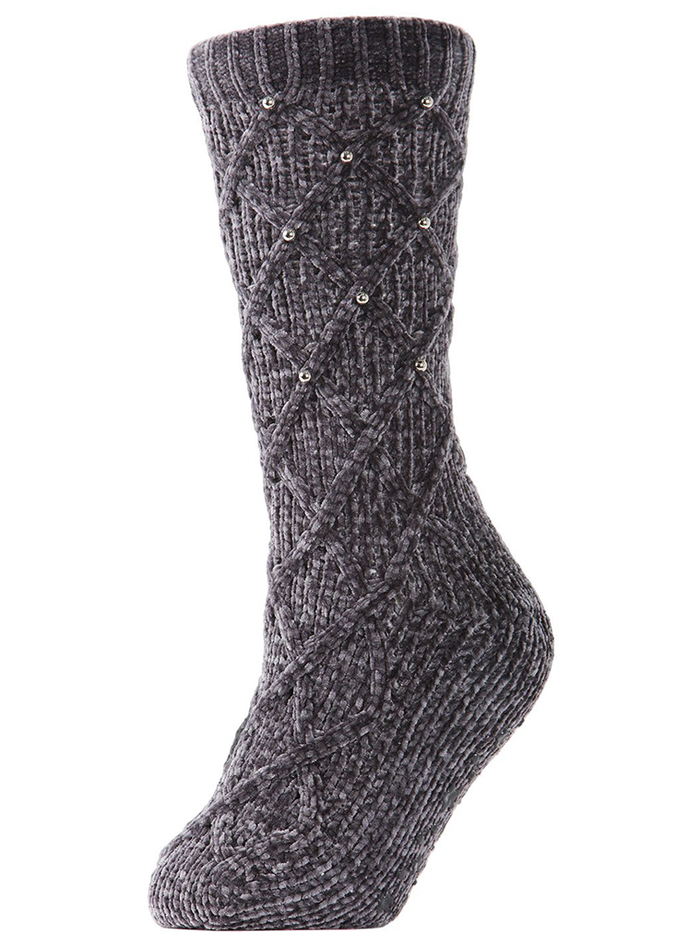 MeMoi Pearl Lattice Plush Lined Slipper Sock