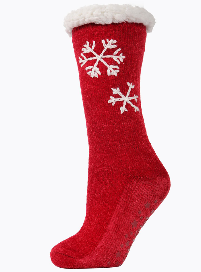 MeMoi Sweet Snowflake Plush Lined Slipper Sock