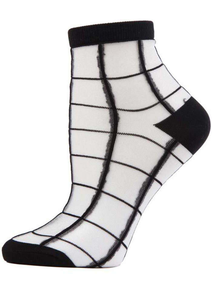 MeMoi Cheery Checker Sheer See-through Ankle Socks