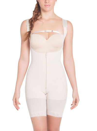 Siluet High Compression Wide Straps Mid-Thigh Bodysuit Slimming Shaper