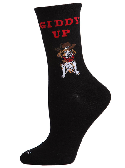 MeMoi Giddy Up Pup Bamboo Blend Crew Socks