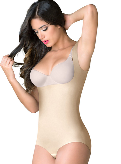 Romanza Tummy Control Bodysuit Open Bust Shapewear For Women