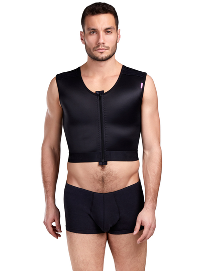 Lipoelastic Gynecomastia Vest - Front Zipper And Adjustable Shoulder