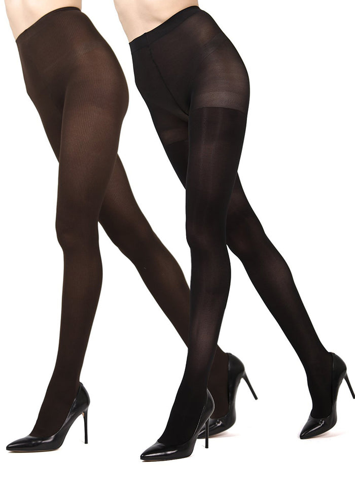 MeMoi Ribbed/Solid 2-pair Control Top Tights