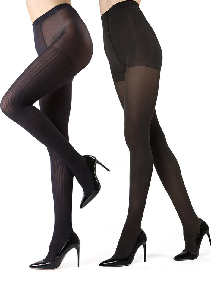 473e3d343c3 MeMoi Cable Ribbed Solid 2-pair Control Top Tights – Shapewear USA