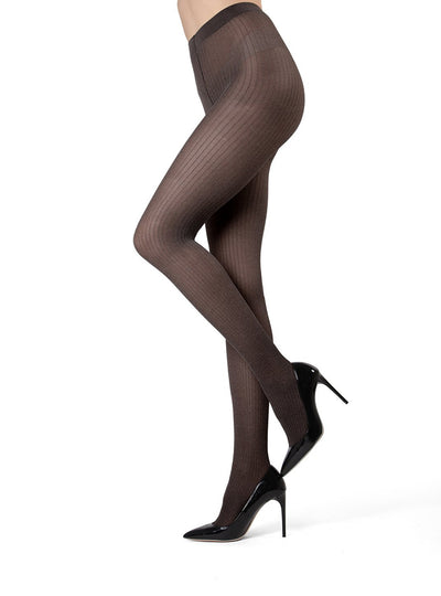 MeMoi Luxury Divas Black Ribbed Pinstripe Tights