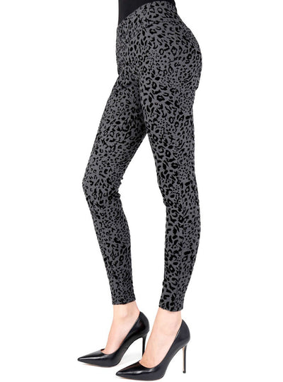 MeMoi Gepardine Flocked Monochrome Cheetah Legging