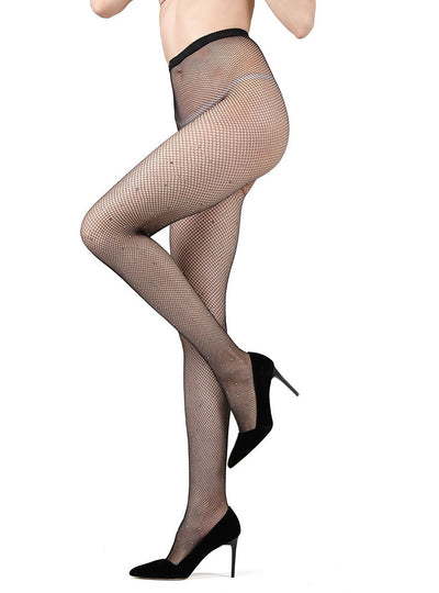 MeMoi Rhinestone Mini-net Fishnet Tights