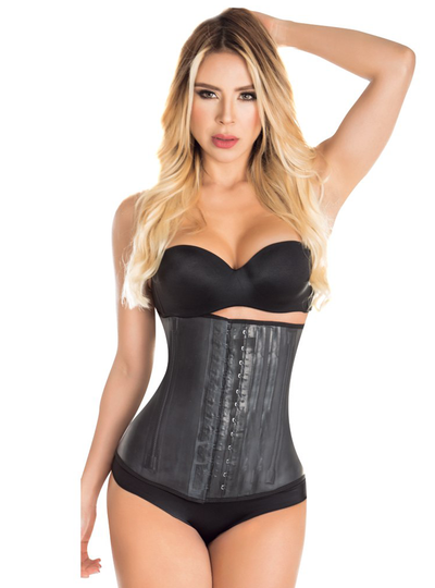 Aranza Latex Waist Cincher Black & Nude (3 hooks)