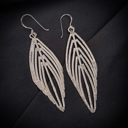 Hill Tribe • Prabang Leaf Earrings in White