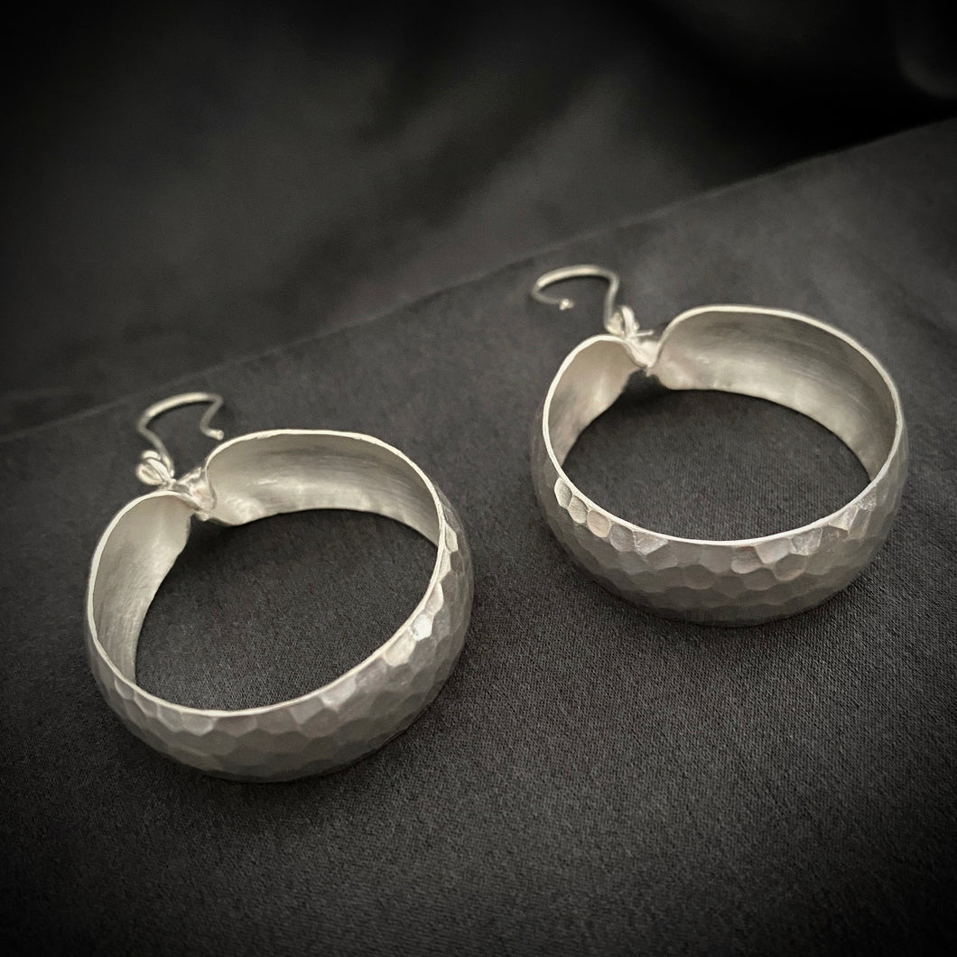 Hill Tribe • Classic Large Hammered Hoop Earrings