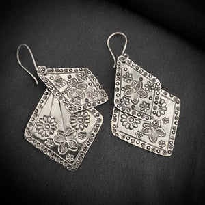 Hill Tribe • Double Stack Print Tribal Earrings