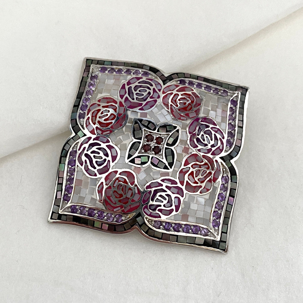 Stone • The Mosaic Rose Pendant in Amethyst & Garnet