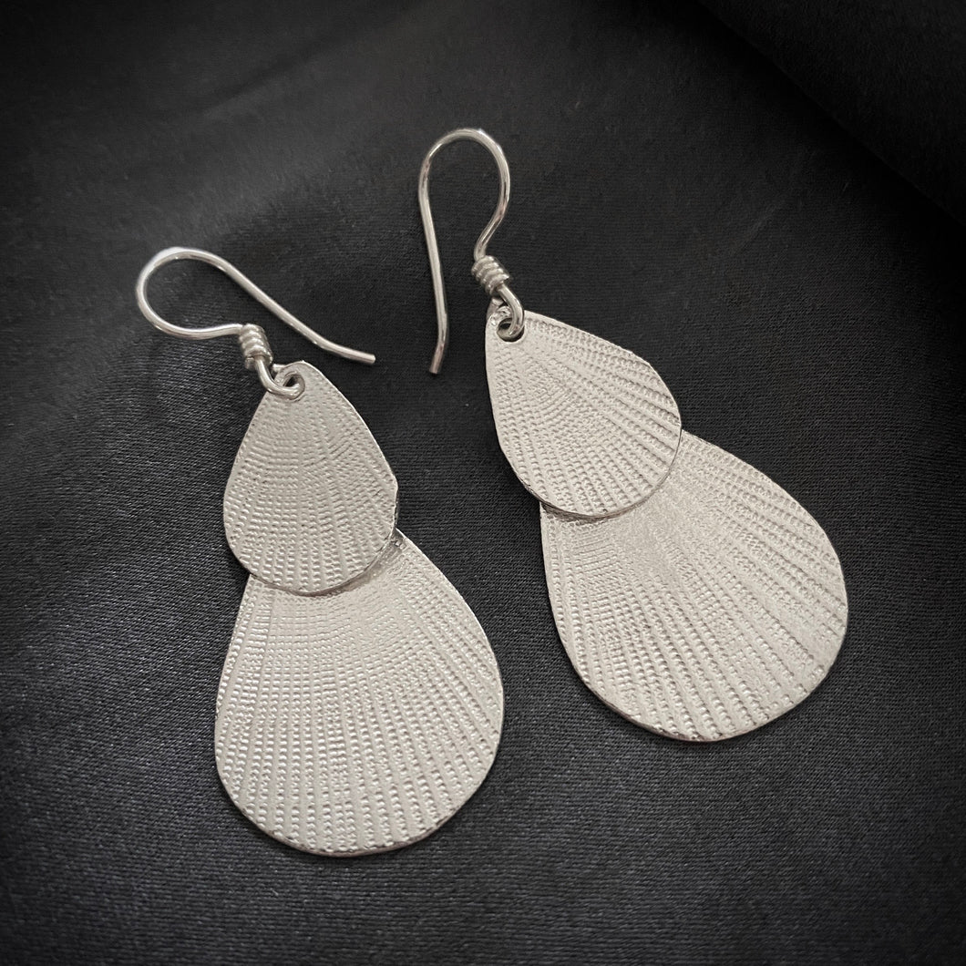 Hill Tribe • Akha Double Leaf Etched Earrings