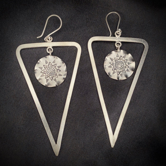 Hill Tribe • Classic Triangle Coing Earrings in Large