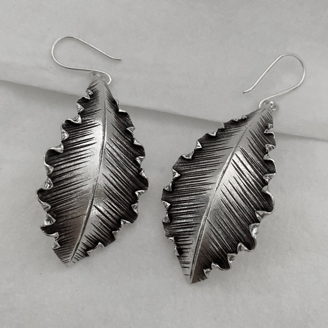 Hill Tribe • Akha Curved Leaf Earrings
